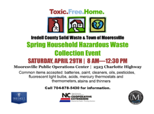 Household Hazardous Waste Event Collection: April 29, 8-12:30pm, Mooresville Public Operations Center