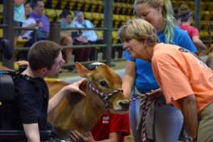 Dairy Judge speaking with participant and helper, Jersey Calf also present
