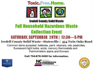 Cover photo for Iredell County Fall Household and Pesticide Hazardous Waste Collection