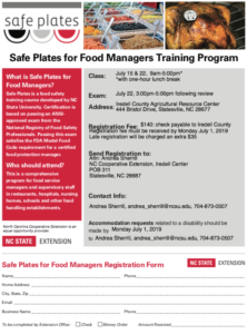Cover photo for Safe Plates Class Scheduled for July