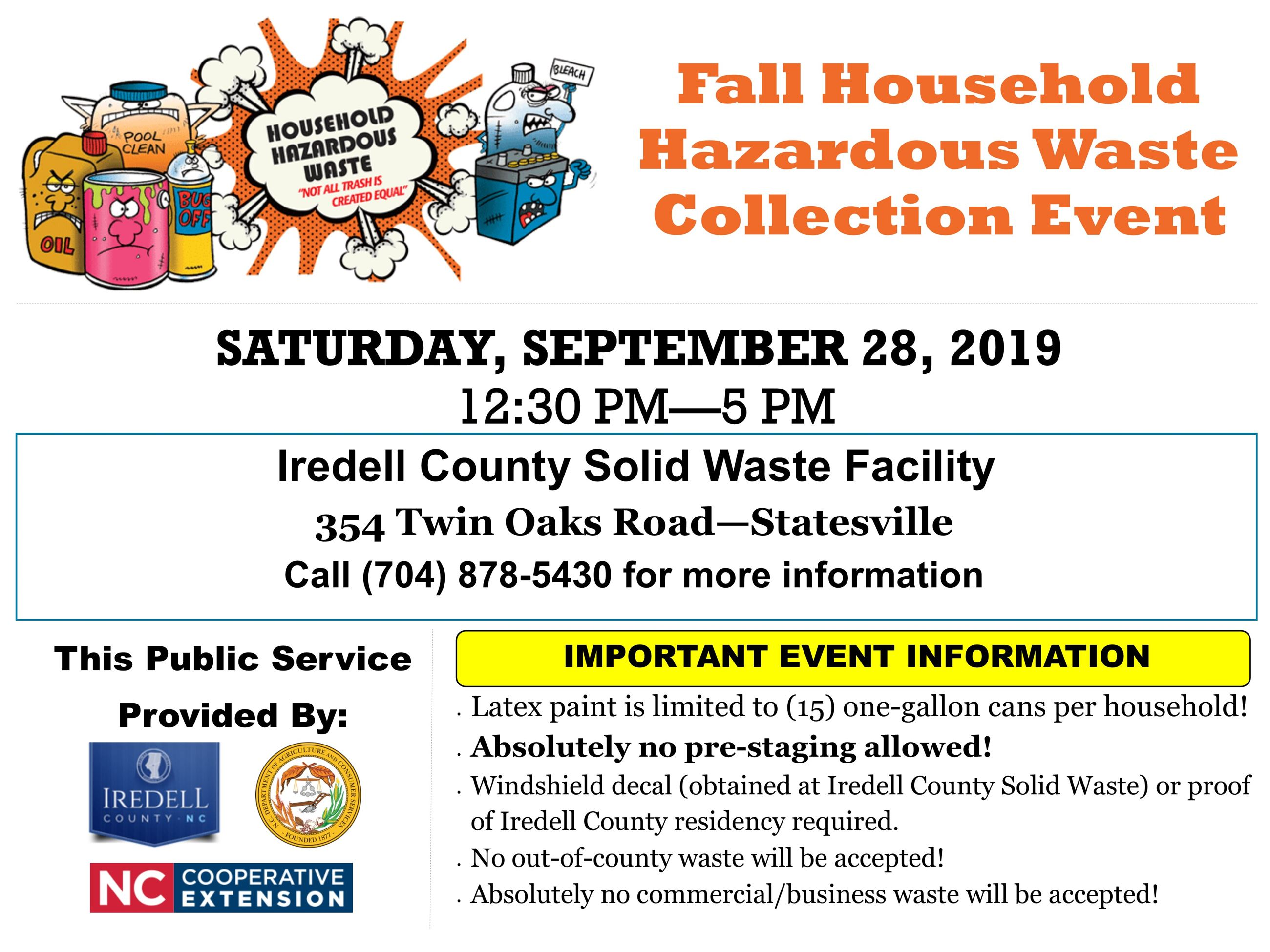 Fall Household Hazardous Waste Collection Event