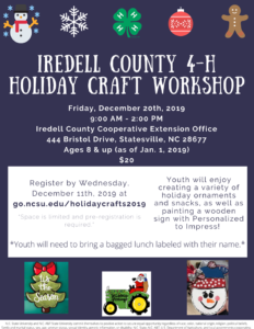 Cover photo for 4-H Holiday Craft Workshop Scheduled