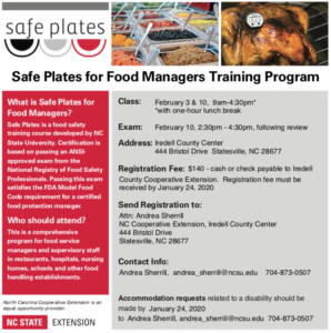Flyer for Safeplates Class Feb 2020