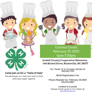 Cover photo for 4-H Curious Cooks Workshop