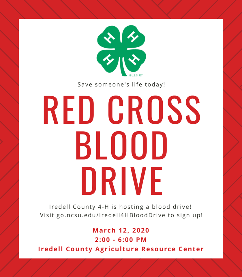 """""""Red Cross Blood Drive"""" with 4H Logo"""
