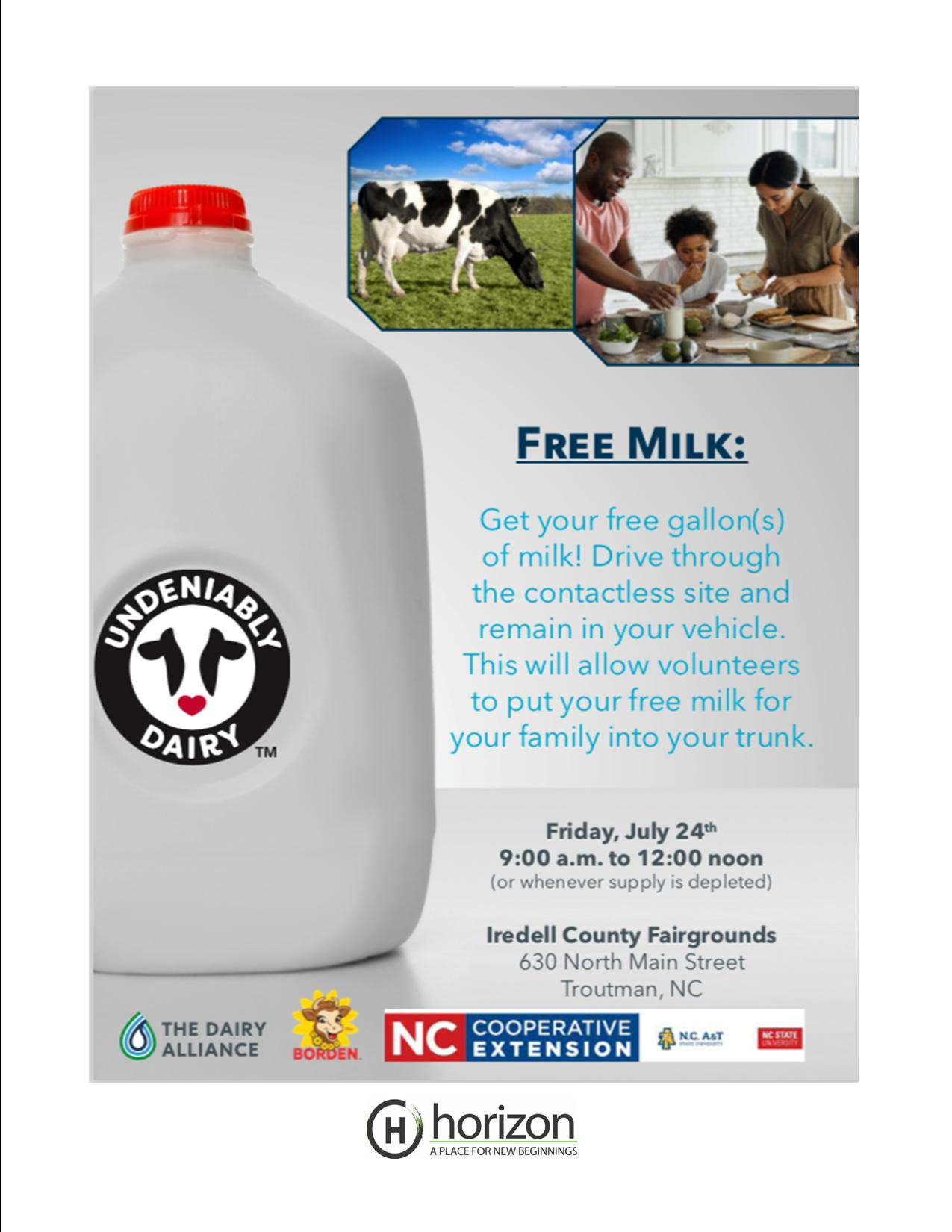 Large Gallon of Milk with Cows and Children in the background