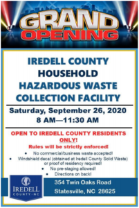 Hazardous Waste Day Info from Iredell Co