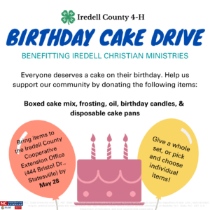 Cover photo for 4-H Birthday Cake Drive Benefiting Iredell Christian Ministries