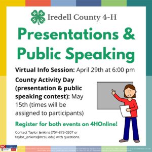 Cover photo for Iredell County 4-H Presentation & Public Speaking Program